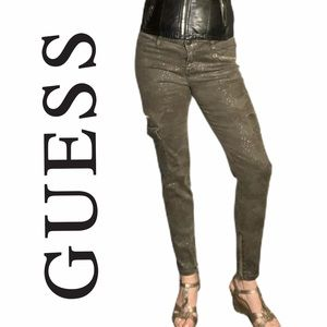 Guess splatter camo cargo stretch skinnies sz 31